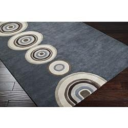 Hand-tufted Contemporary Circles Dazed Charcoal Grey Wool Geometric Rug (3'3 x 5'3) - Thumbnail 1