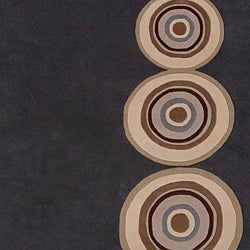 Hand-tufted Contemporary Circles Dazed Charcoal Grey Wool Geometric Rug (3'3 x 5'3) - Thumbnail 2