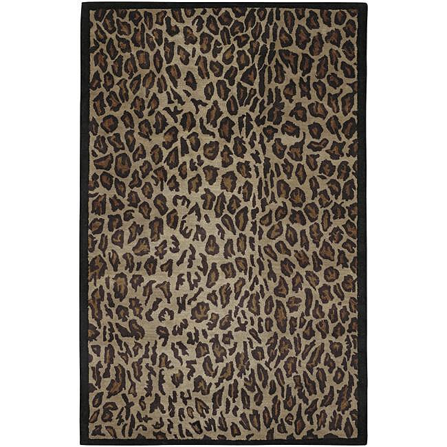 Hand-tufted Brown Leopard Animal Print Safari Wool Rug (3'3 x 5'3)