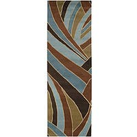 Hand-tufted Contemporary Blue Striped Mayflower Wool Area Rug (3' x 12') - 3' x 12'