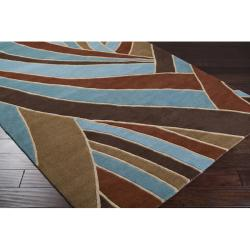 Hand-tufted Contemporary Blue Striped Mayflower Wool Rug (4' Round) - Thumbnail 1