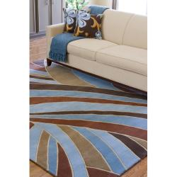 Hand-tufted Contemporary Blue Striped Mayflower Wool Rug (4' Round) - Thumbnail 2