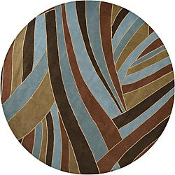 Hand-tufted Contemporary Blue Striped Mayflower Wool Rug (4' Round)