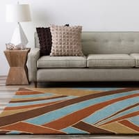 Hand-tufted Contemporary Blue Striped Mayflower Wool Area Rug - 6'