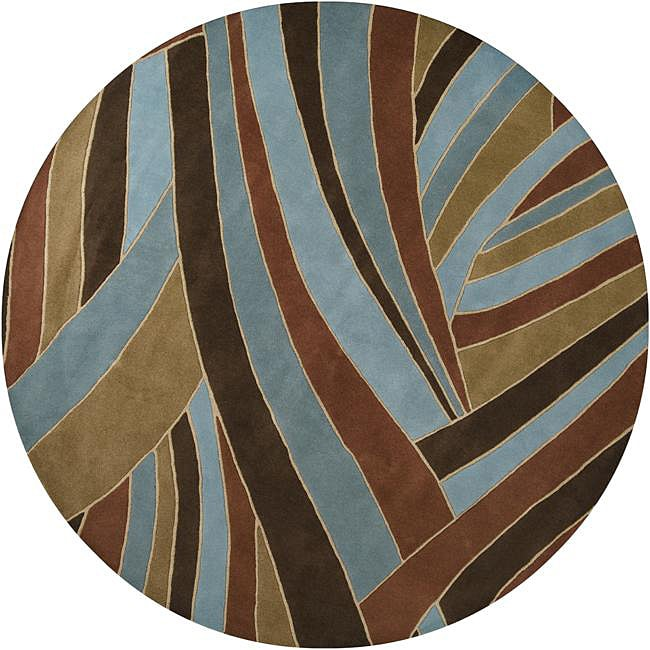 Hand-tufted Contemporary Blue Striped Mayflower Wool Rug ...