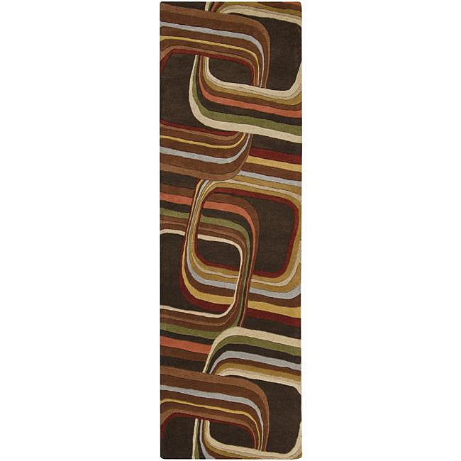 Hand-tufted Brown Contemporary Geometric Square Mayflower Wool Rug (2'6 x 8')