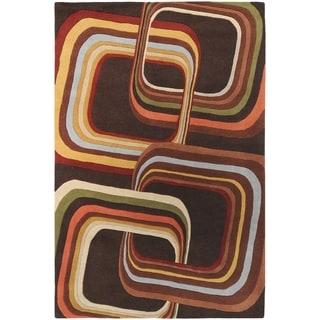 Hand-tufted Brown Contemporary Geometric Square Mayflower Wool Rug (4' x 6')