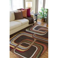 Hand-tufted Brown Contemporary Geometric Square Mayflower Wool Rug (6' Round) - Thumbnail 2