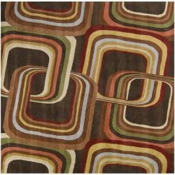 Hand-tufted Brown Contemporary Geometric Square Mayflower Wool Rug (6' Square)