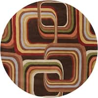 Hand-tufted Brown Contemporary Geometric Square Mayflower Wool Area Rug - 8' x 8'