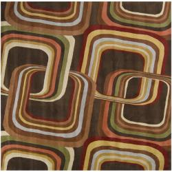Hand-tufted Brown Contemporary Geometric Square Mayflower Wool Rug (8' Square)