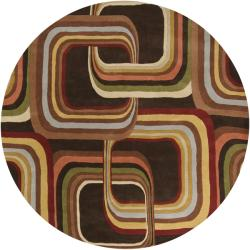 Hand-tufted Brown Contemporary Geometric Square Mayflower Wool Rug (9'9 Round)