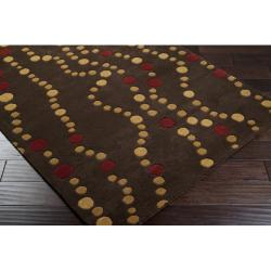 Hand-tufted Brown Contemporary Geometric Forum Wool Rug (9' x 12')