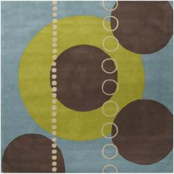 Hand-tufted Contemporary Multi Colored Geometric Circles Mayflower Wool Abstract Rug (4' Square)