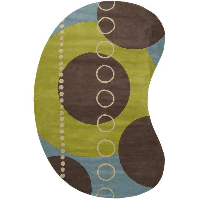 Hand-tufted Contemporary Multi Colored Geometric Circles Mayflower Wool Abstract Area Rug - 8' x 10'