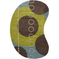 Hand-tufted Contemporary Multi Colored Geometric Circles Mayflower Wool Abstract Area Rug (8' x 10') - 8' x 10'