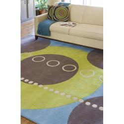 Hand-tufted Contemporary Multi Colored Geometric Circles Mayflower Wool Abstract Rug (8' Square) - Thumbnail 2