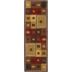 Hand-tufted Contemporary Red/Brown Geometric Square Mayflower Burgundy Wool Abstract Rug (2'6 x 8')