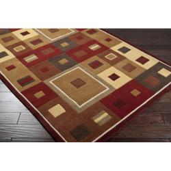 Hand-tufted Contemporary Red/Brown Geometric Square Mayflower Burgundy Wool Abstract Rug (4' x 6') - Thumbnail 1