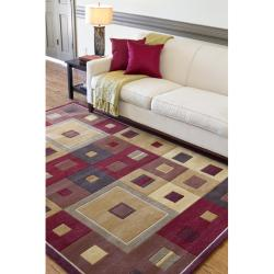 Hand-tufted Contemporary Red/Brown Geometric Square Mayflower Burgundy Wool Abstract Rug (4' x 6') - Thumbnail 2
