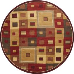 Hand-tufted Contemporary Red/Brown Geometric Square Mayflower Burgundy Wool Abstract Rug (4' Round)