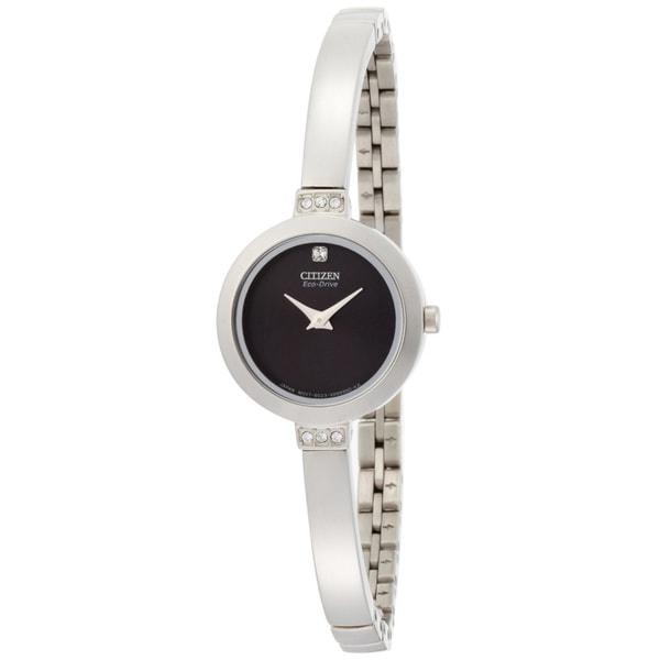 Citizen Eco-Drive Women's 'Silhouette' Bangle Black Dial Watch