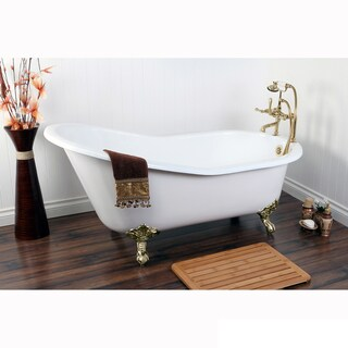 Vintage Slipper 61-inch Cast-iron Clawfoot Tub with 7-inch Drillings (Option: Gold)