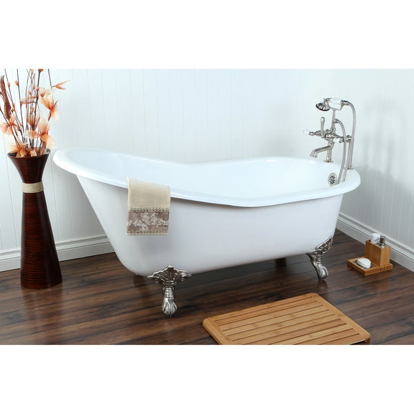 clawfoot baby bath tub. Vintage Slipper 61 inch Cast iron Clawfoot Tub with 7 Drillings