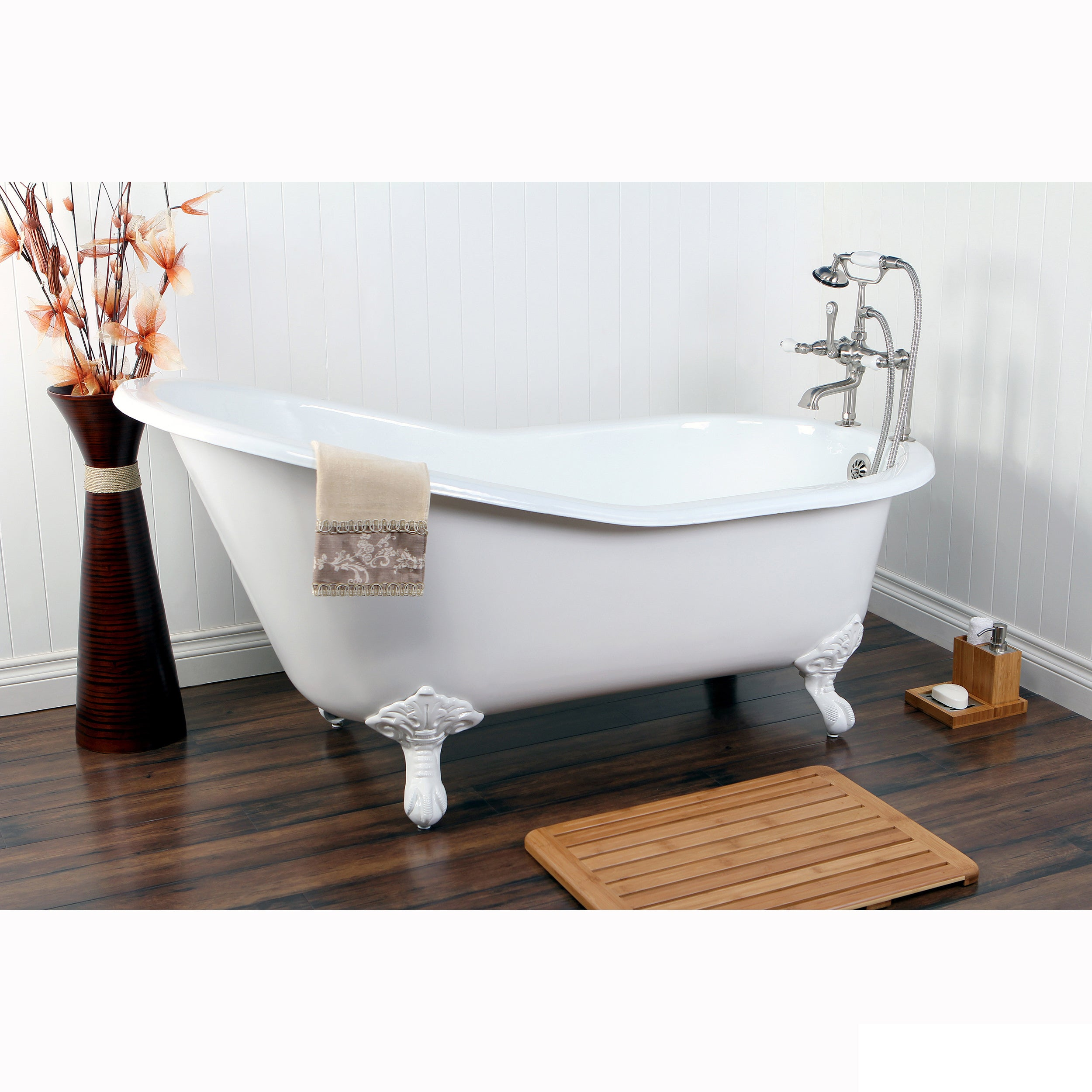 Picture of: Shop Black Friday Deals On Vintage Slipper 61 Inch Cast Iron Clawfoot Tub With 7 Inch Drillings Overstock 5651624