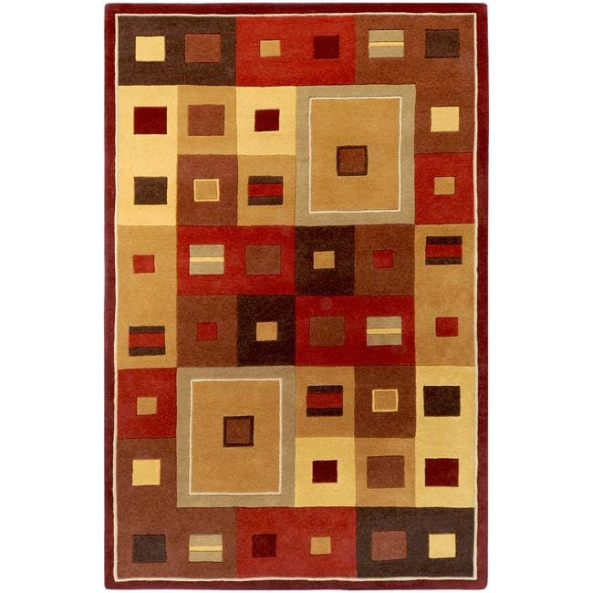 Hand-tufted Contemporary Red/Brown Geometric Square Mayflower Burgundy Wool Abstract Area Rug - 7'6 x 9'6