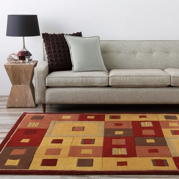 "Hand-tufted Contemporary Red/Brown Geometric Square Mayflower Burgundy Wool Abstract Area Rug - 7'6"" x 9'6"""