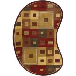 Hand-tufted Contemporary Red/Brown Geometric Square Mayflower Burgundy Wool Abstract Rug (8' x 10' K