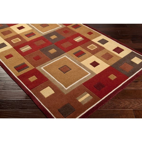 Hand Tufted Contemporary Red Brown Geometric Square Mayflower Burgundy Wool Abstract Area Rug 8 X 10 Kidney Overstock 5651731