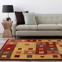 Hand-tufted Contemporary Red/Brown Geometric Square Mayflower Burgundy Wool Abstract Area Rug - 8'