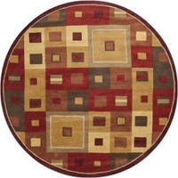 Hand-tufted Contemporary Red/Brown Geometric Square Mayflower Burgundy Wool Abstract Area Rug (9'9 Round) - 9'9