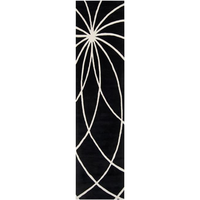 Hand-tufted Contemporary Black/White Mayflower Wool Abstract Rug (3' x 12')
