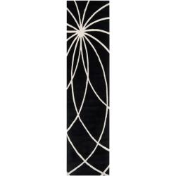 Hand-tufted Contemporary Black/White Mayflower Wool Abstract Area Rug - 3' x 12' - Thumbnail 0