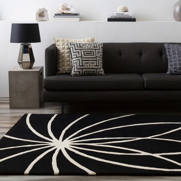 Hand-tufted Contemporary Black/White Mayflower Wool Abstract Area Rug - 7'6 x 9'6