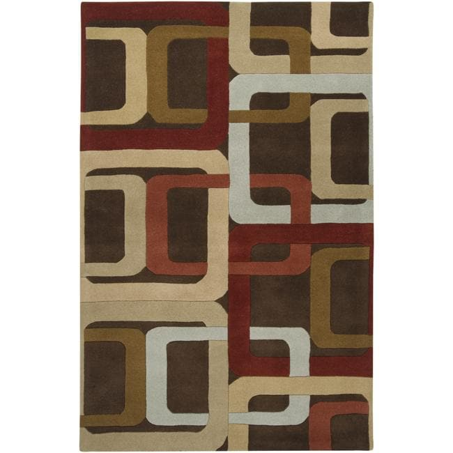 Hand-tufted Brown Contemporary Multi Colored Square Mayflower Wool Geometric Rug (10' x 14') - Thumbnail 0