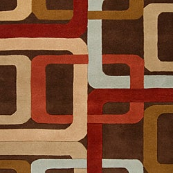 Hand-tufted Brown Contemporary Multi Colored Square Mayflower Wool Geometric Rug (10' x 14') - Thumbnail 2