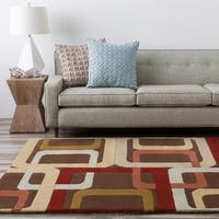 Hand-tufted Brown Contemporary Multi Colored Square Mayflower Wool Geometric Area Rug - 7'6 x 9'6