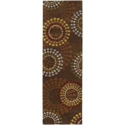 Hand-tufted Brown Contemporary Circles Mayflower Wool Geometric Rug (2'6 x 8')