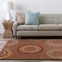 "Hand-tufted Brown Contemporary Circles Mayflower Wool Geometric Area Rug - 2'6"" x 8'"