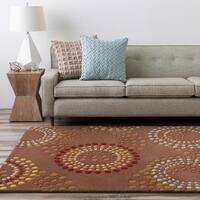 Hand-tufted Brown Contemporary Circles Mayflower Wool Geometric Area Rug - 3' x 12'