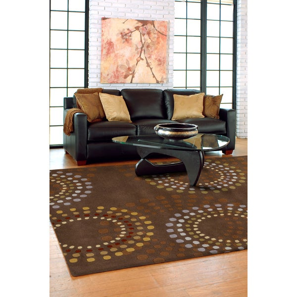 Hand-tufted Brown Contemporary Circles Mayflower Wool Geometric Rug (4' x 6')