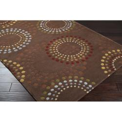 Hand-tufted Brown Contemporary Circles Mayflower Wool Geometric Rug (4' Round) - Thumbnail 1