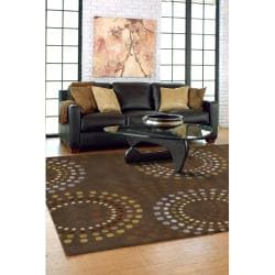 Hand-tufted Brown Contemporary Circles Mayflower Wool Geometric Rug (4' Round) - Thumbnail 2