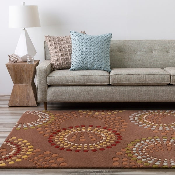 Hand-tufted Brown Contemporary Circles Mayflower Wool Geometric Area Rug - 4'