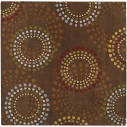 Hand-tufted Brown Contemporary Circles Mayflower Wool Geometric Rug (4' Square)