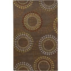 Hand-tufted Brown Contemporary Circles Mayflower Wool Geometric Rug (6' x 9')